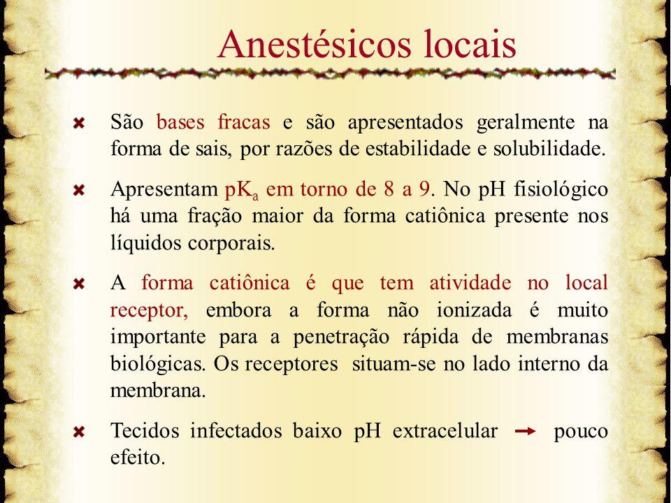 Anestésicos locais São bases fracas e são apresentados geralmente na forma de sais, por razões de estabilidade e solubilidade. Apresentam pK a em torn