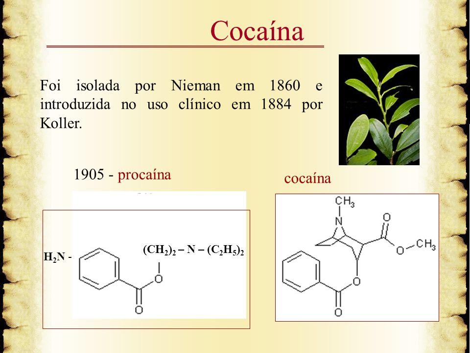 Cocaína Foi isolada por Nieman em 1860 e introduzida no uso clínico em 1884 por Koller. 1905 - procaína cocaína H 2 N - (CH 2 ) 2 – N – (C 2 H 5 ) 2