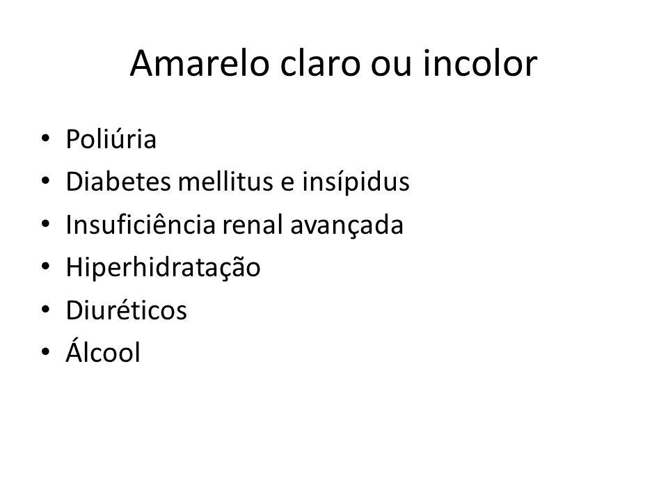 Amarelo claro ou incolor Poliúria Diabetes mellitus e insípidus Insuficiência renal avançada Hiperhidratação Diuréticos Álcool