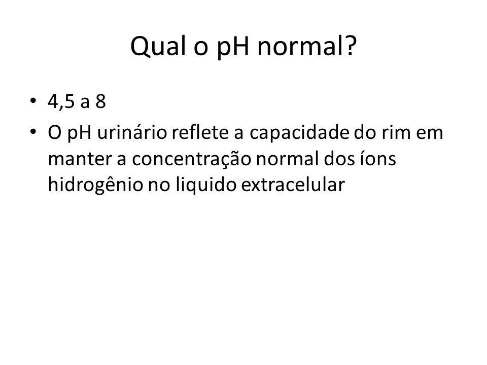 Qual o pH normal? 4,5 a 8 O pH urinário reflete a capacidade do rim em manter a concentração normal dos íons hidrogênio no liquido extracelular
