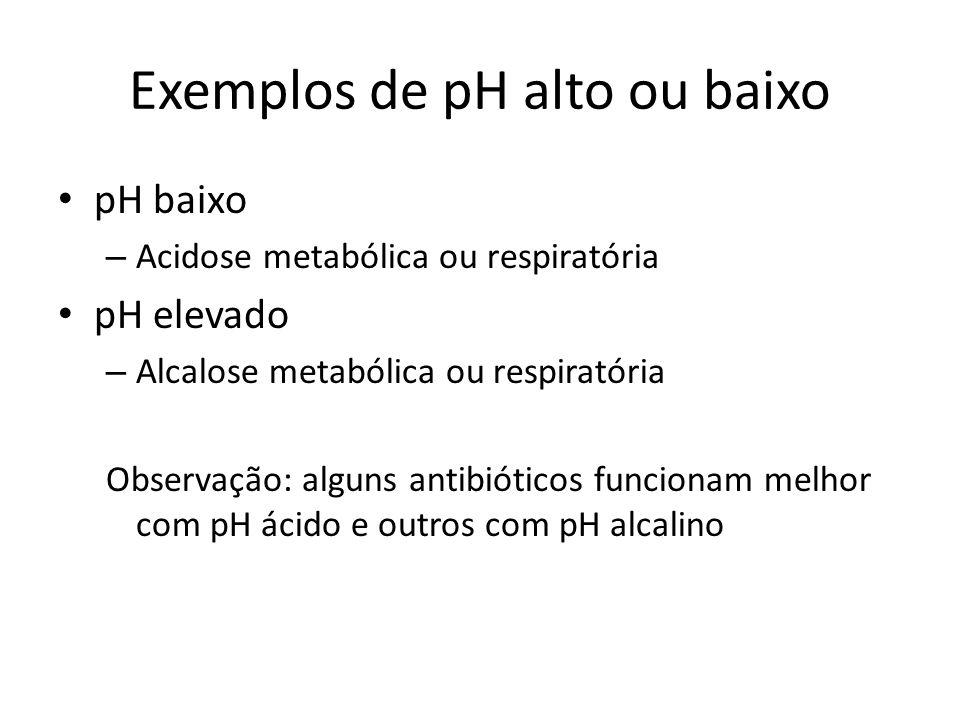 Exemplos de pH alto ou baixo pH baixo – Acidose metabólica ou respiratória pH elevado – Alcalose metabólica ou respiratória Observação: alguns antibió