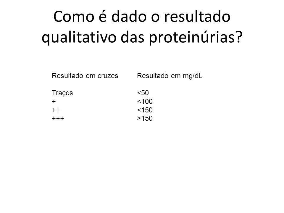 Como é dado o resultado qualitativo das proteinúrias? Resultado em cruzes Resultado em mg/dL Traços <50 + <100 ++ <150 +++ >150