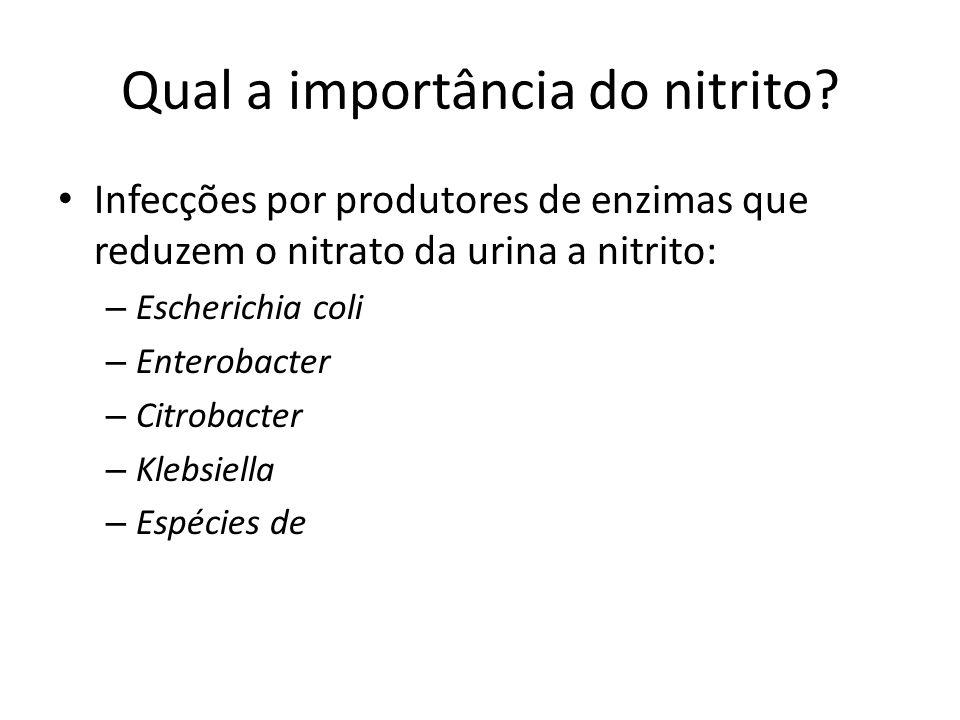 Qual a importância do nitrito? Infecções por produtores de enzimas que reduzem o nitrato da urina a nitrito: – Escherichia coli – Enterobacter – Citro