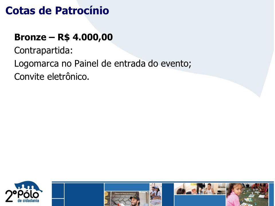 Company Confidential Cotas de Patrocínio Bronze – R$ 4.000,00 Contrapartida: Logomarca no Painel de entrada do evento; Convite eletrônico.