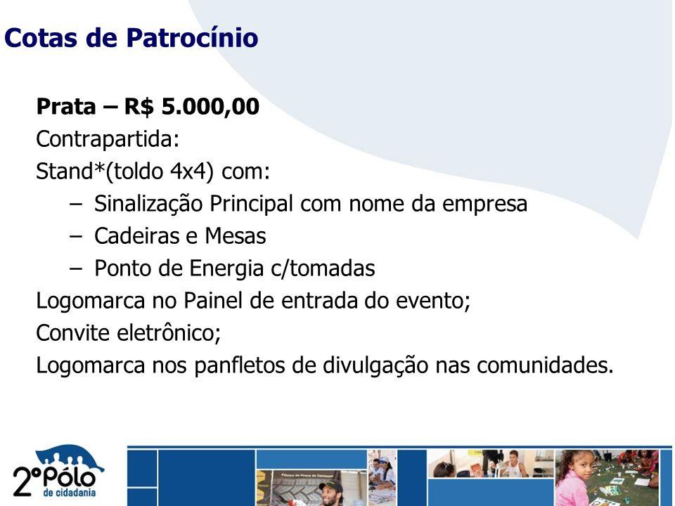 Company Confidential Prata – R$ 5.000,00 Contrapartida: Stand*(toldo 4x4) com: – Sinalização Principal com nome da empresa – Cadeiras e Mesas – Ponto
