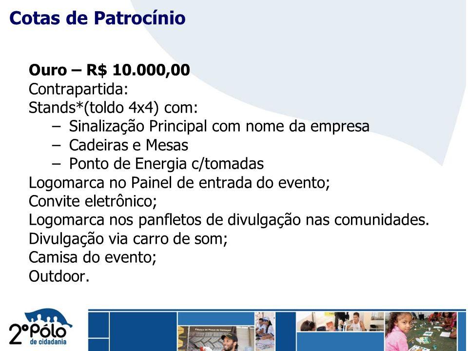 Company Confidential Ouro – R$ 10.000,00 Contrapartida: Stands*(toldo 4x4) com: – Sinalização Principal com nome da empresa – Cadeiras e Mesas – Ponto