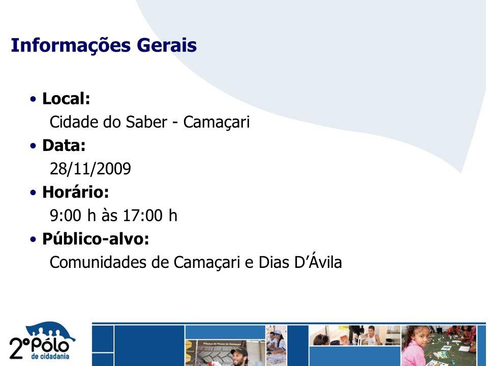 Company Confidential Informações Gerais Local: Cidade do Saber - Camaçari Data: 28/11/2009 Horário: 9:00 h às 17:00 h Público-alvo: Comunidades de Cam