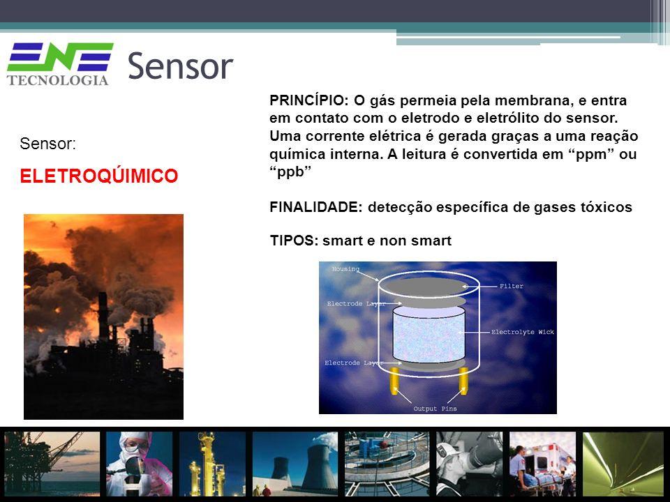 Sensor Sensor: ELETROQÚIMICO PRINCÍPIO: O gás permeia pela membrana, e entra em contato com o eletrodo e eletrólito do sensor. Uma corrente elétrica é