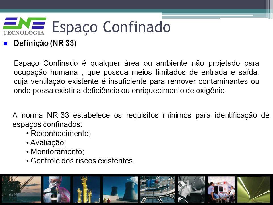 Espaço Confinado A norma NR-33 estabelece os requisitos mínimos para identificação de espaços confinados: Reconhecimento; Avaliação; Monitoramento; Co