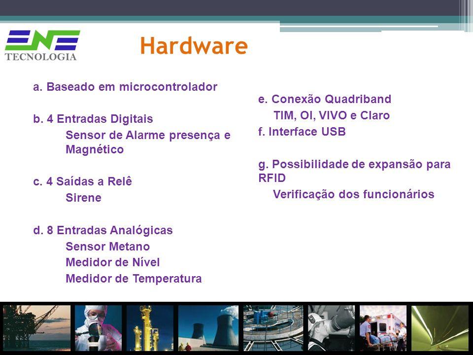 Hardware a. Baseado em microcontrolador b. 4 Entradas Digitais Sensor de Alarme presença e Magnético c. 4 Saídas a Relê Sirene d. 8 Entradas Analógica