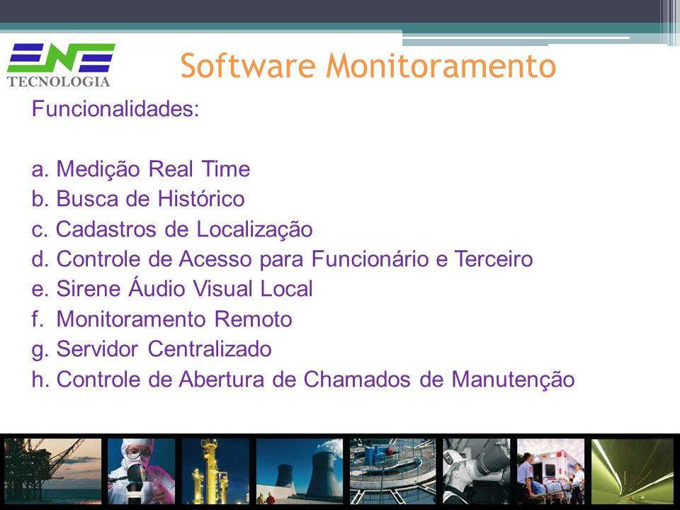 Software Monitoramento Funcionalidades: a. Medição Real Time b. Busca de Histórico c. Cadastros de Localização d. Controle de Acesso para Funcionário