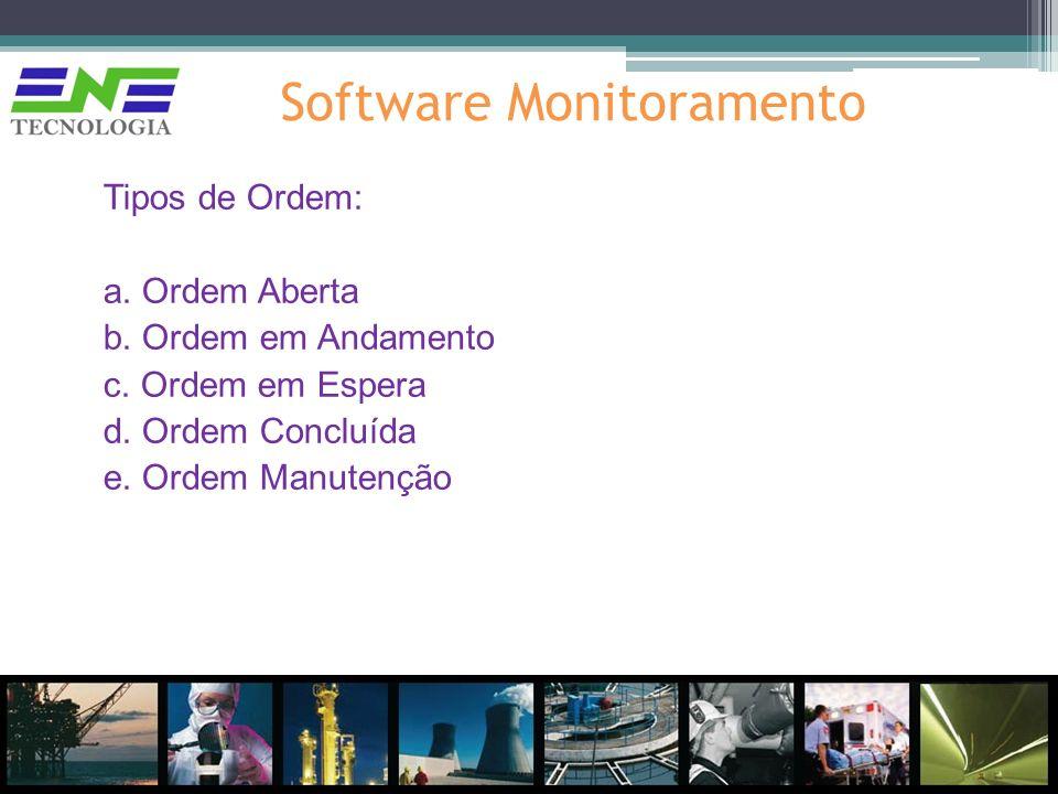 Software Monitoramento Tipos de Ordem: a. Ordem Aberta b. Ordem em Andamento c. Ordem em Espera d. Ordem Concluída e. Ordem Manutenção