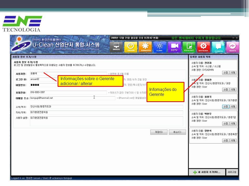 Informações sobre o Gerente adicionar / alterar Infomações do Gerente