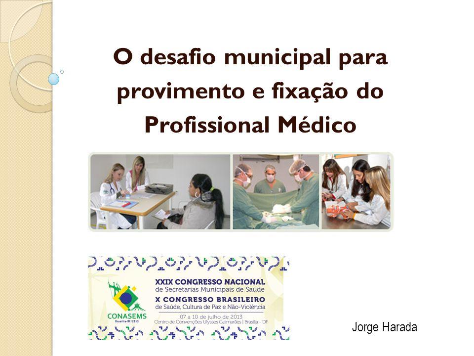 Trabalho Médico Razão médico/ habitante (Brasil) = 1,8/1000 Distribuição por regiões: Sudeste: 2,61/1000 Sul: 2,03/1000 Centro Oeste: 1,99/1000 Nordeste: 1,19/1000 Norte: 0,98/1000 Distribuição em algumas unidades da federação: DF: 4,02/1000 SP: 2,58/1000 AP, PA, MA < 1/1000 Conselho Federal de Medicina, 2011