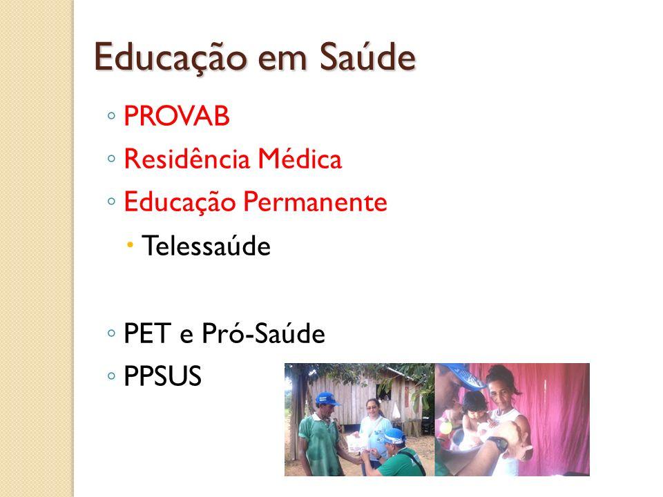 Educação em Saúde PROVAB Residência Médica Educação Permanente Telessaúde PET e Pró-Saúde PPSUS