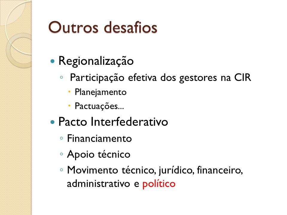 Outros desafios Regionalização Participação efetiva dos gestores na CIR Planejamento Pactuações... Pacto Interfederativo Financiamento Apoio técnico M