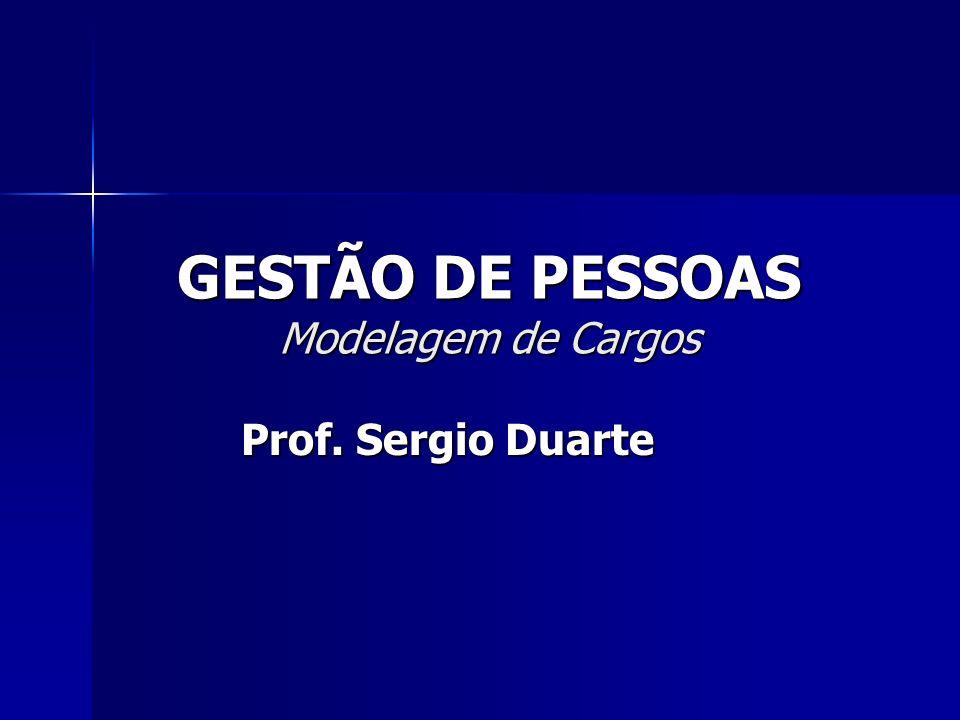 GESTÃO DE PESSOAS Modelagem de Cargos Prof. Sergio Duarte