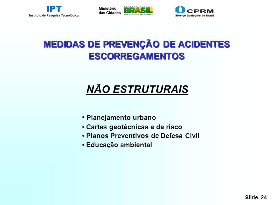 Slide 24 MEDIDAS DE PREVENÇÃO DE ACIDENTES ESCORREGAMENTOS NÃO ESTRUTURAIS Planejamento urbano Cartas geotécnicas e de risco Planos Preventivos de Defesa Civil Educação ambiental