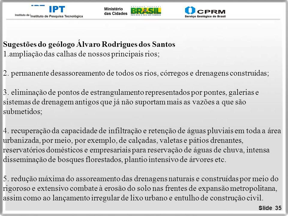 Slide 35 Sugestões do geólogo Álvaro Rodrigues dos Santos 1.ampliação das calhas de nossos principais rios; 2. permanente desassoreamento de todos os