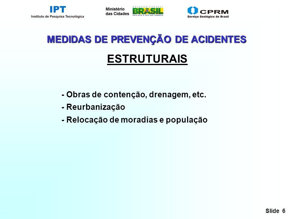 Slide 6 - Obras de contenção, drenagem, etc. - Reurbanização - Relocação de moradias e população MEDIDAS DE PREVENÇÃO DE ACIDENTES ESTRUTURAIS