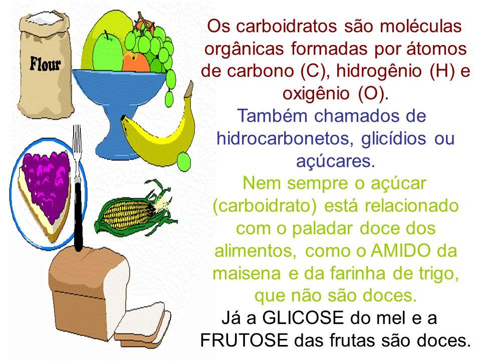 Os carboidratos são moléculas orgânicas formadas por átomos de carbono (C), hidrogênio (H) e oxigênio (O). Também chamados de hidrocarbonetos, glicídi
