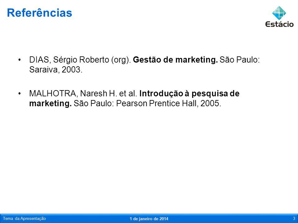 DIAS, Sérgio Roberto (org). Gestão de marketing. São Paulo: Saraiva, 2003. MALHOTRA, Naresh H. et al. Introdução à pesquisa de marketing. São Paulo: P