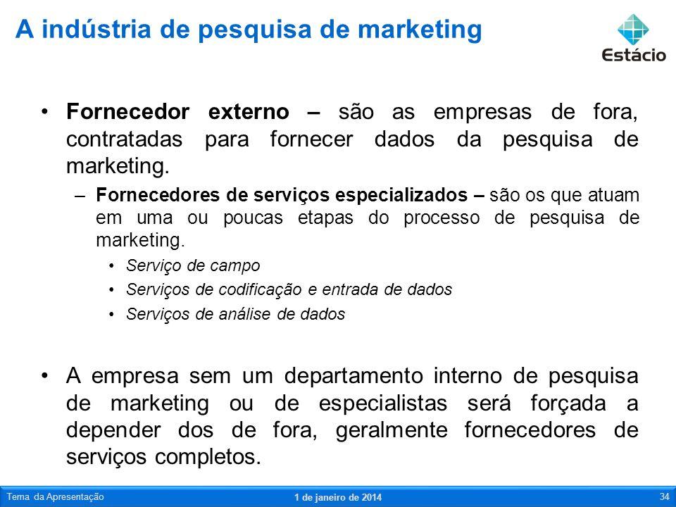 Fornecedor externo – são as empresas de fora, contratadas para fornecer dados da pesquisa de marketing. –Fornecedores de serviços especializados – são