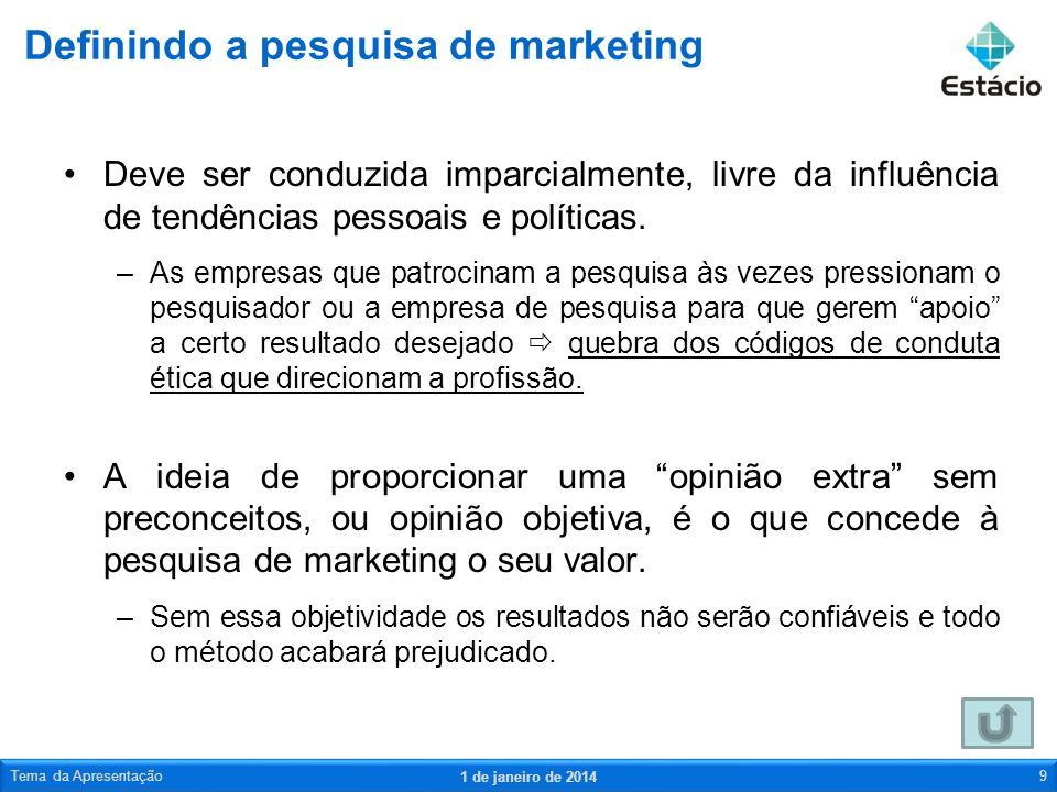 Processo de pesquisa de marketing 1 de janeiro de 2014 Tema da Apresentação20 Um projeto de pesquisa é uma estrutura ou um esquema elaborados para conduzir a pesquisa de marketing.