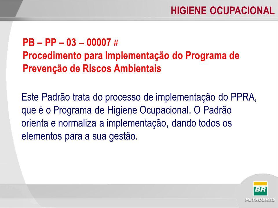 HIGIENE OCUPACIONAL Este Padrão trata do processo de implementação do PPRA, que é o Programa de Higiene Ocupacional. O Padrão orienta e normaliza a im