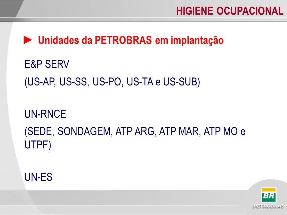 HIGIENE OCUPACIONAL Unidades da PETROBRAS em implantação E&P SERV (US-AP, US-SS, US-PO, US-TA e US-SUB) UN-RNCE (SEDE, SONDAGEM, ATP ARG, ATP MAR, ATP