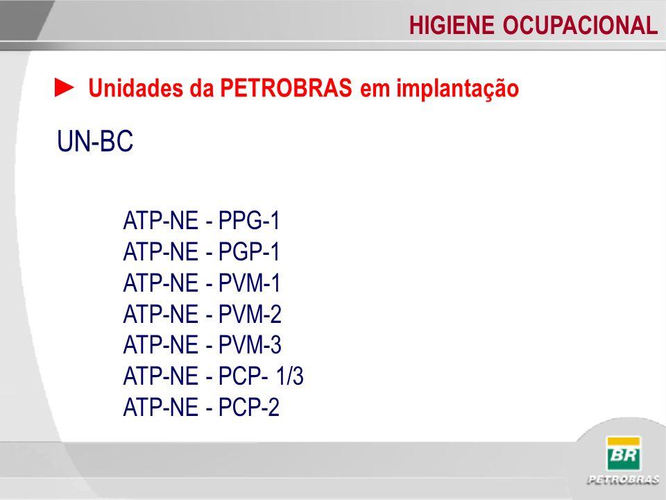 HIGIENE OCUPACIONAL Unidades da PETROBRAS em implantação UN-BC ATP-NE - PPG-1 ATP-NE - PGP-1 ATP-NE - PVM-1 ATP-NE - PVM-2 ATP-NE - PVM-3 ATP-NE - PCP