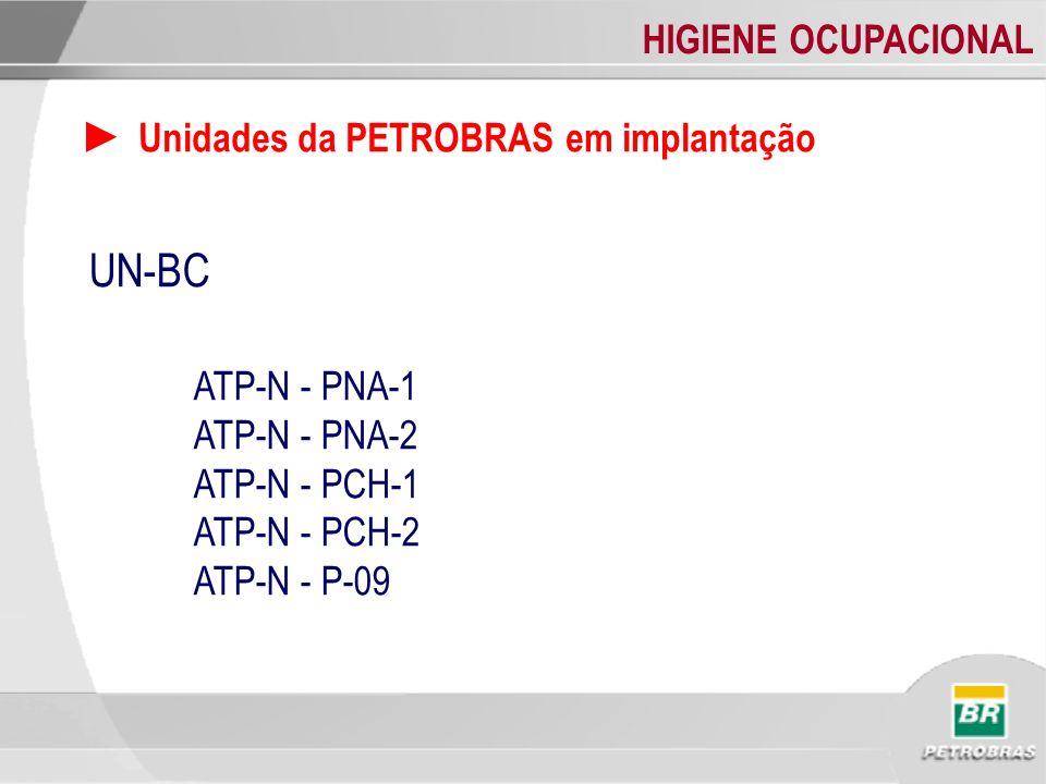 HIGIENE OCUPACIONAL Unidades da PETROBRAS em implantação UN-BC ATP-N - PNA-1 ATP-N - PNA-2 ATP-N - PCH-1 ATP-N - PCH-2 ATP-N - P-09