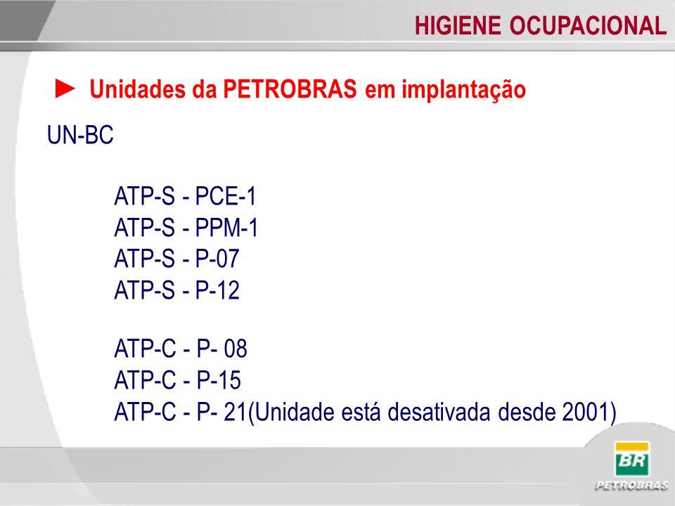 HIGIENE OCUPACIONAL Unidades da PETROBRAS em implantação UN-BC ATP-S - PCE-1 ATP-S - PPM-1 ATP-S - P-07 ATP-S - P-12 ATP-C - P- 08 ATP-C - P-15 ATP-C