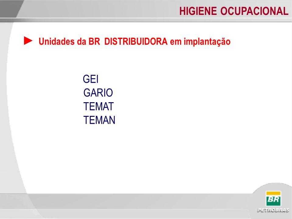 HIGIENE OCUPACIONAL Unidades da BR DISTRIBUIDORA em implantação GEI GARIO TEMAT TEMAN