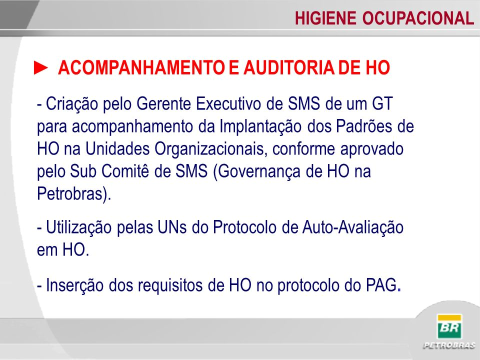 HIGIENE OCUPACIONAL ACOMPANHAMENTO E AUDITORIA DE HO - Criação pelo Gerente Executivo de SMS de um GT para acompanhamento da Implantação dos Padrões d