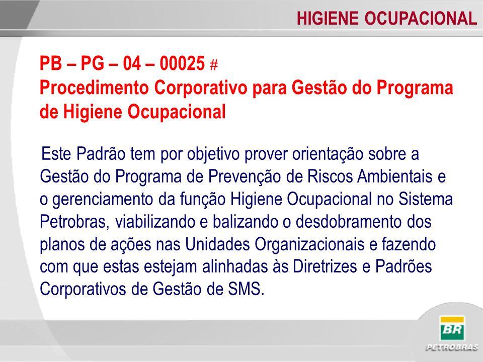 HIGIENE OCUPACIONAL ACOMPANHAMENTO E AUDITORIA DE HO - Criação pelo Gerente Executivo de SMS de um GT para acompanhamento da Implantação dos Padrões de HO na Unidades Organizacionais, conforme aprovado pelo Sub Comitê de SMS (Governança de HO na Petrobras).