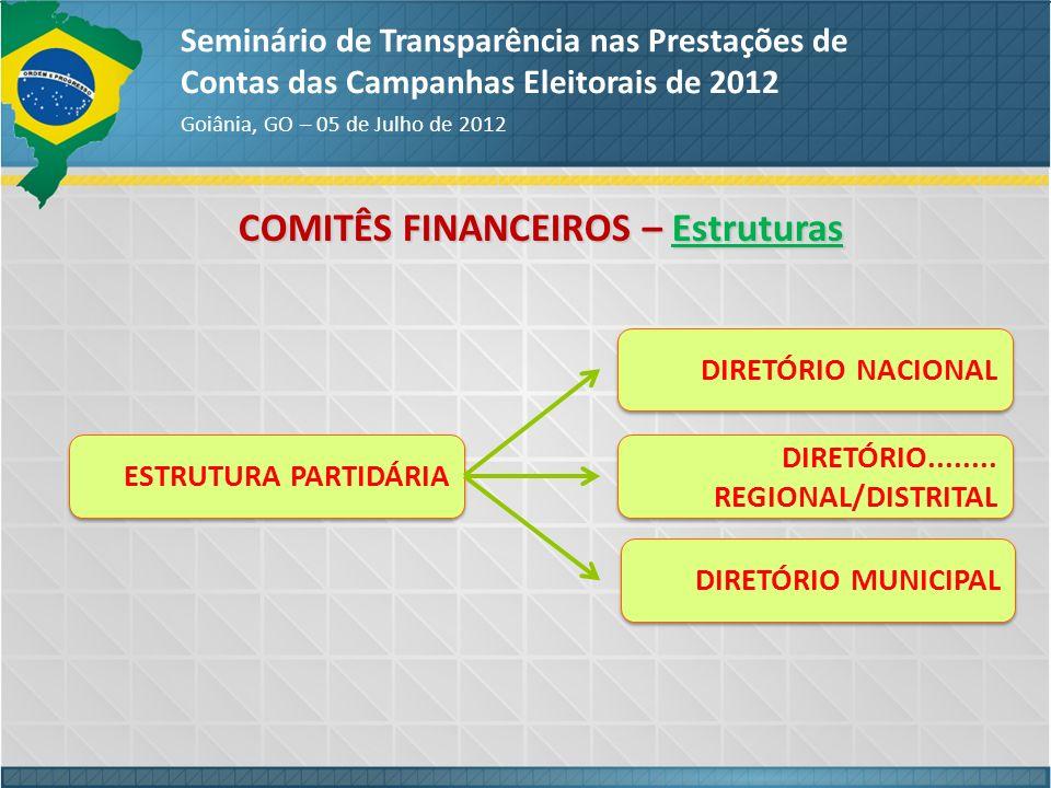 COMITÊS FINANCEIROS – Estruturas Seminário de Transparência nas Prestações de Contas das Campanhas Eleitorais de 2012 Goiânia, GO – 05 de Julho de 201