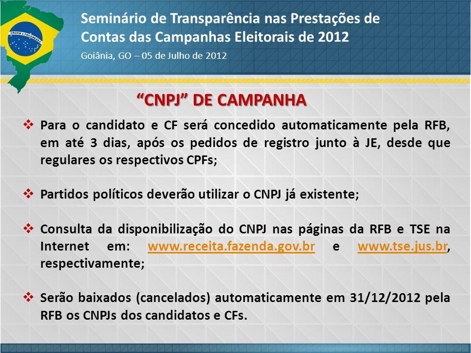 CNPJ DE CAMPANHA Seminário de Transparência nas Prestações de Contas das Campanhas Eleitorais de 2012 Goiânia, GO – 05 de Julho de 2012 Para o candida