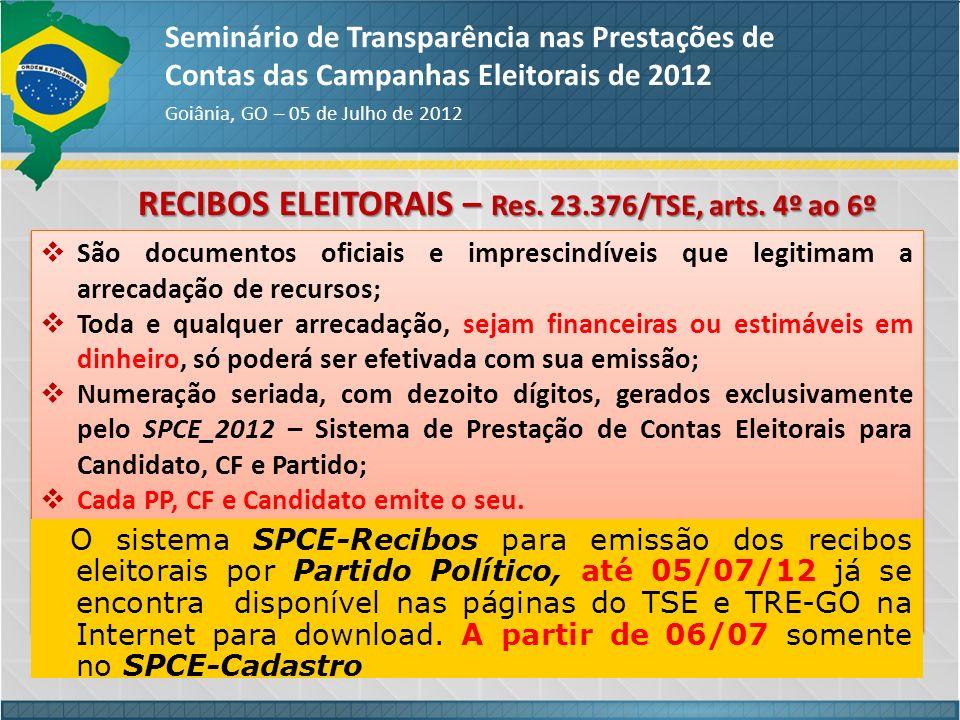RECIBOS ELEITORAIS – Res. 23.376/TSE, arts. 4º ao 6º Seminário de Transparência nas Prestações de Contas das Campanhas Eleitorais de 2012 Goiânia, GO