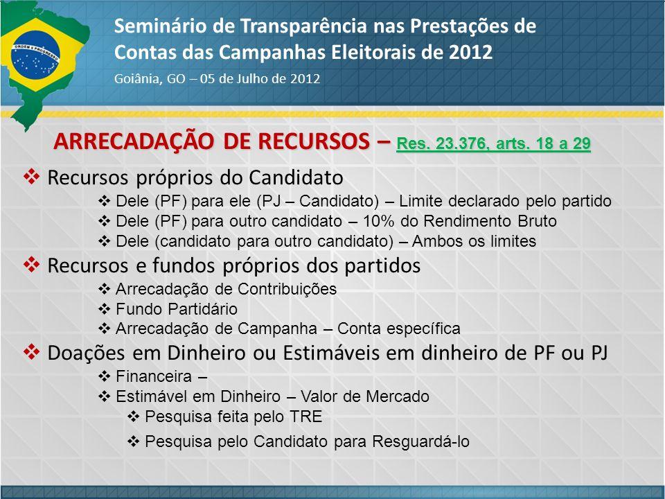 ARRECADAÇÃO DE RECURSOS – Res. 23.376, arts. 18 a 29 Seminário de Transparência nas Prestações de Contas das Campanhas Eleitorais de 2012 Goiânia, GO
