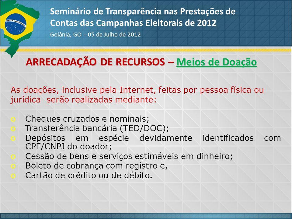 ARRECADAÇÃO DE RECURSOS – Meios de Doação Seminário de Transparência nas Prestações de Contas das Campanhas Eleitorais de 2012 Goiânia, GO – 05 de Jul