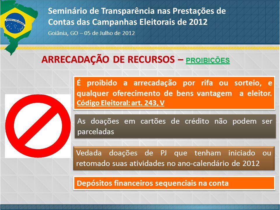 ARRECADAÇÃO DE RECURSOS – PROIBIÇÕES Seminário de Transparência nas Prestações de Contas das Campanhas Eleitorais de 2012 Goiânia, GO – 05 de Julho de