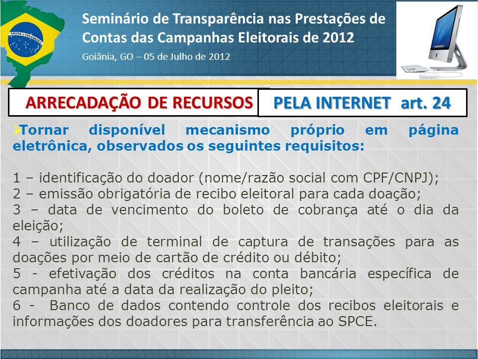 ARRECADAÇÃO DE RECURSOS Seminário de Transparência nas Prestações de Contas das Campanhas Eleitorais de 2012 Goiânia, GO – 05 de Julho de 2012 PELA IN