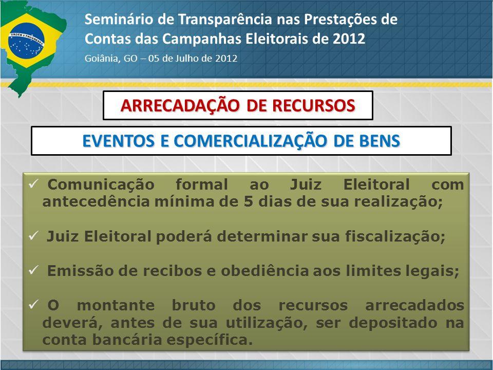 ARRECADAÇÃO DE RECURSOS Seminário de Transparência nas Prestações de Contas das Campanhas Eleitorais de 2012 Goiânia, GO – 05 de Julho de 2012 EVENTOS