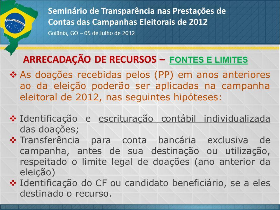 Seminário de Transparência nas Prestações de Contas das Campanhas Eleitorais de 2012 Goiânia, GO – 05 de Julho de 2012 As doações recebidas pelos (PP)