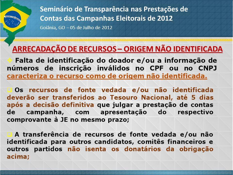 ARRECADAÇÃO DE RECURSOS – ORIGEM NÃO IDENTIFICADA Seminário de Transparência nas Prestações de Contas das Campanhas Eleitorais de 2012 Goiânia, GO – 0