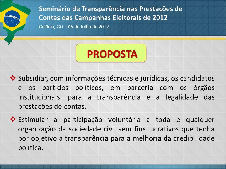 Seminário de Transparência nas Prestações de Contas das Campanhas Eleitorais de 2012 Goiânia, GO – 05 de Julho de 2012