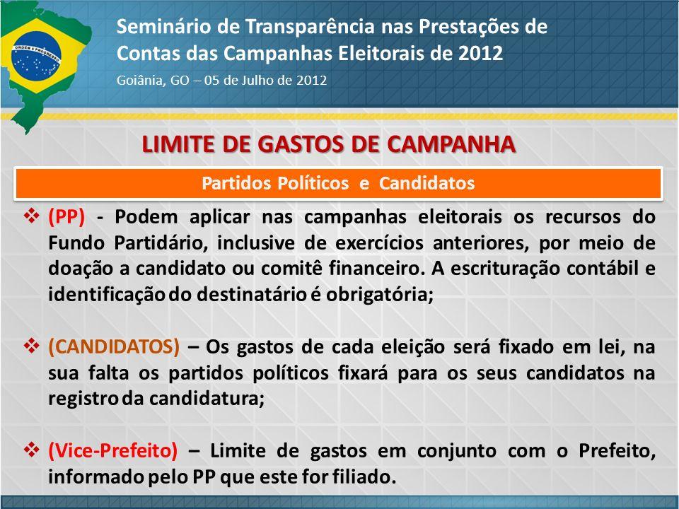 LIMITE DE GASTOS DE CAMPANHA Seminário de Transparência nas Prestações de Contas das Campanhas Eleitorais de 2012 Goiânia, GO – 05 de Julho de 2012 (P