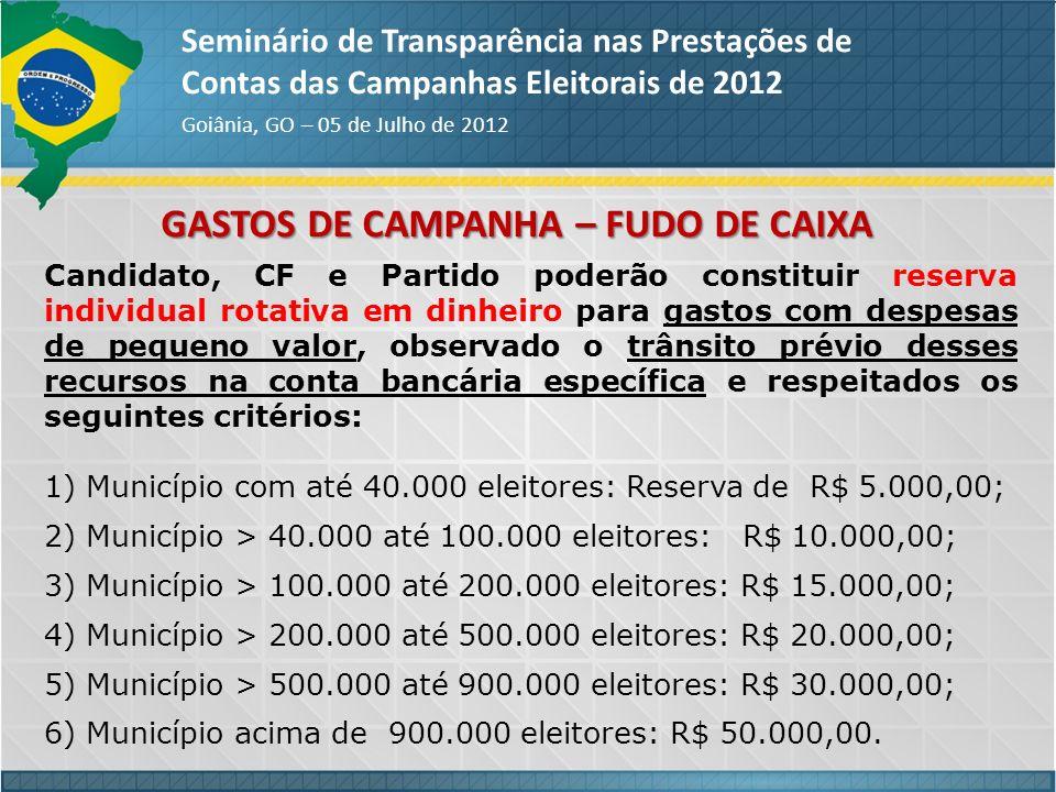 GASTOS DE CAMPANHA – FUDO DE CAIXA Seminário de Transparência nas Prestações de Contas das Campanhas Eleitorais de 2012 Goiânia, GO – 05 de Julho de 2