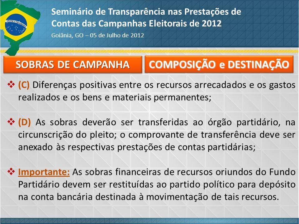 SOBRAS DE CAMPANHA Seminário de Transparência nas Prestações de Contas das Campanhas Eleitorais de 2012 Goiânia, GO – 05 de Julho de 2012 (C) Diferenç